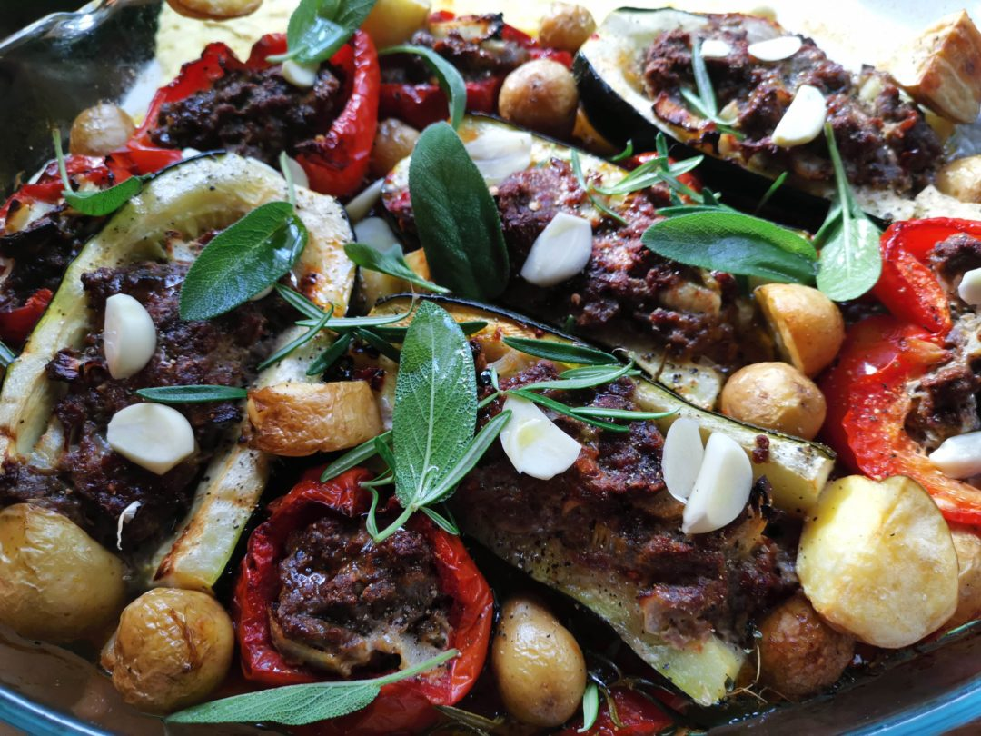 mediterrane Gemüsepfanne aus dem Ofen